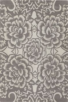Taupe floral rug