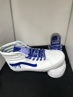 When you order let us know if you want Black, Blue, Red, or Purple All shoes are made to order and ship in 4 weeks. Custom High Top Vans, White High Top Vans, Custom Vans Shoes, Custom Socks, White Vans, Custom Sneakers, Sneakers Nike, Creative Shoes, Unique Shoes