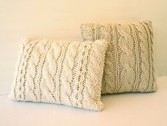 Hand Knit Chunky Throw Pillow Chair Decor Bulky Yarn by Vivamamere, $58.00