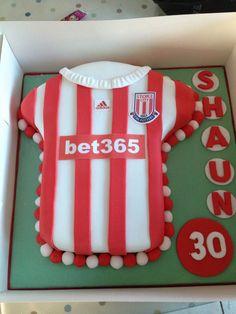 Stoke City FC cake Stoke City Fc, Dad Birthday Cakes, Cake Board, Man United, Cake Ideas, Dads, Desserts, Food, Manchester United