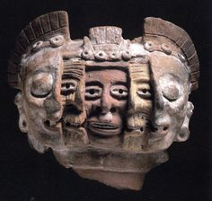 "Aztec Three Faced Mask. c1300AD... ""The three faces depict three phases in which human time. The central face is jovial and full of the vigor of youth, referring to the time when individuals are during their most productive in a society. The exterior mask has closed eyes, alluding to the opposite phase, death. In between is a period of no less importance, the state that arrives with experience: old age."""