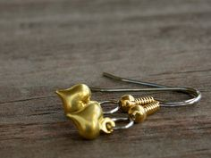 Surgical Stainless Steel Earrings Tiny Gold by AliCsCreations, $7.55