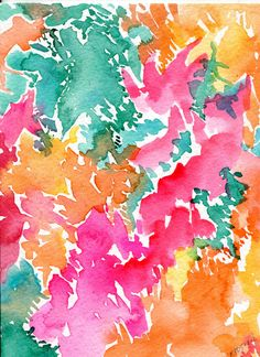Abstract original watercolor painting 5 x 7 Modern abstract art, Pink, coral, turquoise, aqua, peach, teal watercolor art, 5x7 art