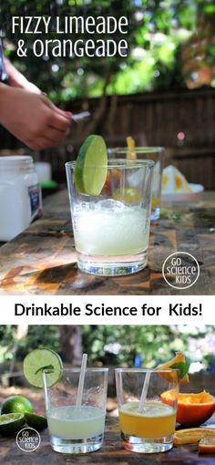Which one is fizzier: Limeade and Orangeade? Fun edible (or drinkable!) science experiment that kids will love to sip and taste! From Go Science Kids. Fun Rainy Day Activities, Science Activities For Kids, Preschool Science, Stem Activities, Teaching Science, School Science Experiments, Stem Science, Food Science, Kitchen Science