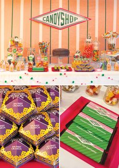 "Harry Potter Dessert Table - Honeydukes Candy Shop sign, with popular treats from the books, ""Cauldron"" Cakes, Pumpkin Pasties, ""Rock"" Cakes (chocolate chip cookies), ""Acid"" Pops, ""Exploding"" Bon Bons, ""Golden Snitch"" cake pops, Chocolate Frogs with wizard cards, a Chocolate cake from Hagrid, Bertie Botts Every Flavor Beans, etc."