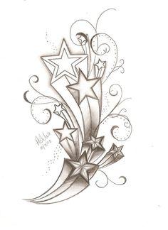2011 Girls Shooting Star Tattoo Designs Lower Back Tattoos Arts Star Tattoos, Love Tattoos, Beautiful Tattoos, Body Art Tattoos, Tattoo Drawings, Tribal Tattoos, Tatoos, Tattoo Stars, Mommy Tattoos
