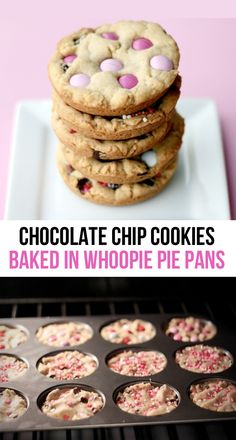 Big, perfectly round, even sized chocolate chip cookies - my secret, using a whoopie pie pan!