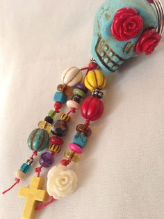 Sugar Skull Rose Cross Day of the Dead Bead / Beaded Key chain Red, Green, Orange, Pink, Purple, Turquoise, Yellow, Blue. $14.00, via Etsy.