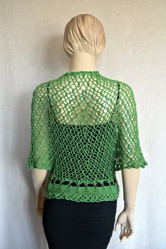 Green Crochet Vest-Poncho by CasadeAngelaCrochet on Etsy