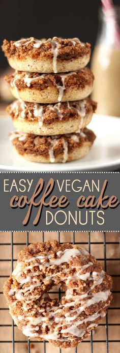 Coffee cake and donuts collide in these amazing vegan donuts! Super easy to make and incredibly delicious!