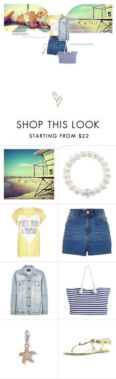 """Soleil, Summer"" by mahora ❤ liked on Polyvore featuring Thomas Sabo, River Island, Scoop, highwaistedshorts, RiverIsland, denimjacket, jellysandals and thomassabo"
