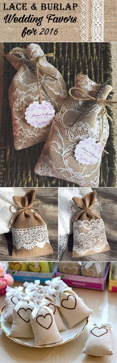 2016 trending lace and burlap wedding favor ideas