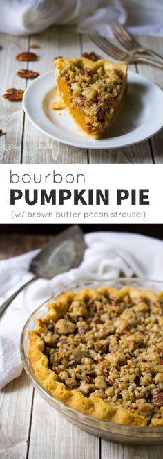 Bourbon Pumpkin Pie with Salted Brown Butter Pecan Streusel @sweetpeasaffron