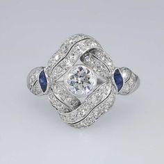 Stunning 1920's Old European Cut #Diamond & Fancy Cut #Sapphire Swirl #Ring #Platinum | #Antique & #Estate Jewelry | SOLD: 4/9/15 JewelryFinds.com Price: $4999.00