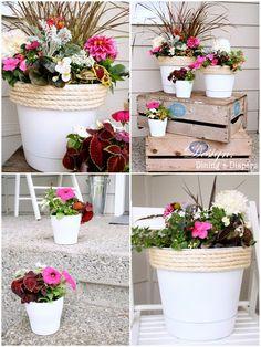 painted dollar store planters with jute rope. love the jute idea Plastic Plant Pots, Plastic Flower Pots, Garden Crafts, Garden Art, Front Porch Planters, Diy Planters, Fleurs Diy, Creation Art, Painting Plastic