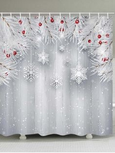 Waterproof Fabric Shower Curtain Merry Christmas Rustic Wooden Board Snowflake