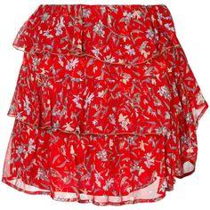 Iro floral ruffle mini skirt (18.805 RUB) ❤ liked on Polyvore featuring skirts, mini skirts, red, floral skirt, frilly skirt, short red skirt, short ruffle skirt and ruffled skirt