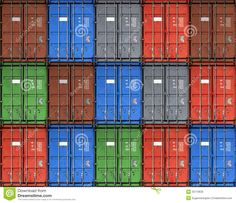 Colorful Metal Freight Shipping Containers Royalty Free Stock ...