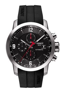 Tissot PRC 200 Men's Automatic Chrono Black Dial Watch with Black Rubber Strap