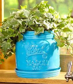 Flower Pots Ceramic Garden Planters Indoor Outdoor Mason Jar Herb Vase Pot Home #Unbranded
