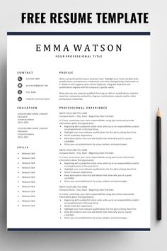 Are you looking for a free, editable resume template? Microsoft Word Resume Template, Simple Resume Template, Teacher Resume Template, Resume Design Template, Cv Template, Free Resume Templates Word, Professional Resume Template, Professional Resume Examples, Basic Resume