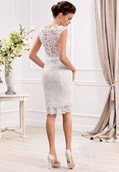 59a47cc0459c Elegant Cap Sleeve Lace Appliques Button Short Wedding Dress