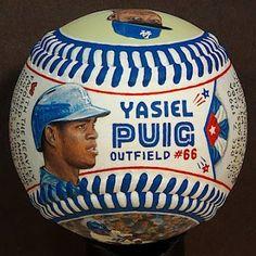 Dodgers Blue Heaven: Check Out Monty Sheldon's Painted Artball® of Yasiel Puig