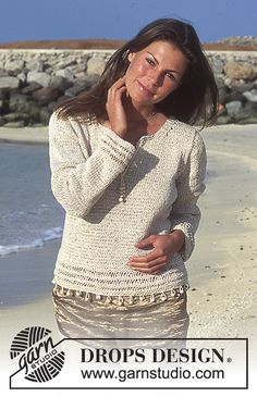 DROPS Pullover in Ribbon and Den-M-Nit or Bomull-Lin and Belle with beads. Free pattern by DROPS Design.