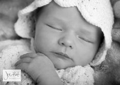 Newborn. Baby Photography in Black and White. Knitted Bonnet.