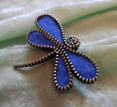 Recycled Felted Wool Sweater/Zipper Brooch/Pin- Blue Dragonfly $16