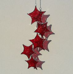 Red Stained Glass Star Cascade Suncatcher #etsy
