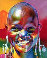 Stephen Bennett's painting of Tanzania has used a variety of different colours and shades. The bright and cheery colours go with the smiling face . It is a happy painting and makes and good atmosphere around it.