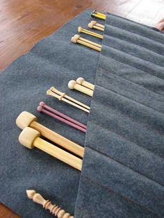 knitting---cute idea for straight needle storage