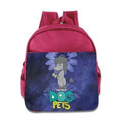 MYKKI Grey Dog Pets Children Cool Backpack Pink * You can get additional details at the image link.