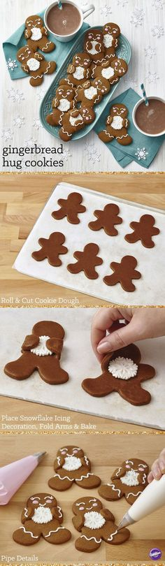 This team of gingerbread treats is happily showing their winter spirit with Wilton Royal Snowflake Icing Decorations. Simple lines, dots and swirls of royal icing give each treat a personality of its (Baking Cookies Christmas) Christmas Tree Cookies, Christmas Sweets, Christmas Gingerbread, Christmas Cooking, Christmas Goodies, Holiday Cookies, Holiday Treats, Gingerbread Cookies, Holiday Recipes