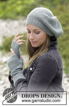 Winter Serenity - The set consists of: Knitted hat with garter stitch and wrist warmers. The set is worked in DROPS Alpaca. Free knitted pattern DROPS 180-35