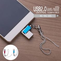 New 2 in 1  metal rotating USB 2.0 U disk for Smartphone Tablet with OTG function Micro USB+USB Mini Micro mobile phone U disk