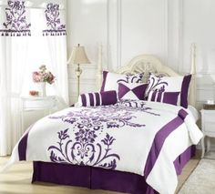 Amazon.com: Chezmoi Collection 7-Piece White with Purple Floral Flocking Comforter 86-Inch by 88-Inch Set, Bed in a bag for Full or Double Size Bedding: Home & Kitchen