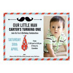 Boys Mustache, Little Man Birthday Invitation