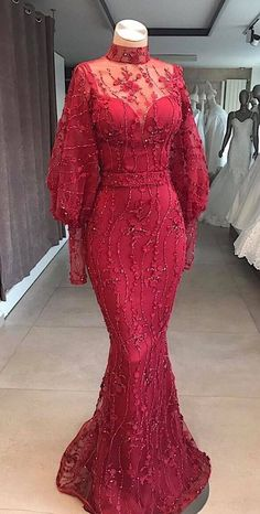 Modest Red Mermaid Dubai Abaya Kaftan Arabic Prom Evening Dress High Neck Long Sleeves With Beading African Wear Dresses, Latest African Fashion Dresses, African Attire, Lace Gown Styles, Nigerian Lace Styles Dress, Aso Ebi Lace Styles, Ankara Long Gown Styles, African Lace Styles, African Traditional Dresses