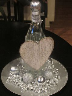 Silver Heart Bottle Centerpiece Table by CreativeSpacesbyGina