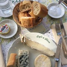 "pinterest // @reflxctor ""café de flore"" breakfast with french cheese : camembert / cheddar / gouda / brie / mascarpone / parmesan #cheese #food"