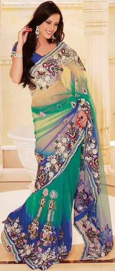 Yellow and Sea Green and Royal Blue Net Saree With Blouse @ $ 311.65 Shop @ http://www.utsavfashion.com/store/sarees-large.aspx?icode=skk14020