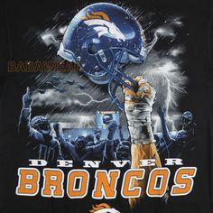 Broncos Sky Helmet High T-Shirt Black NFL Denver Football Thunder BABA