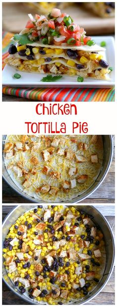 Chicken Tortilla Pie, made in layers in a Springform Pan. So easy and delicious, perfect for a weeknight or game day with the family.