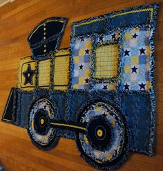 TRAIN RAG QUILT Recycled denim Blue and by TheNeedleNPinsPrject