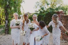 Such a unique bridesmaids dress choice, I love it! This would be amazing with a non-traditional blush or gilded bridal gown, too! (dresses by For Love and Lemons via Revolve)  // photo Liana Nath