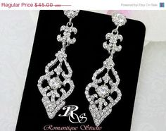 Hey, I found this really awesome Etsy listing at https://www.etsy.com/listing/191017835/huge-sale-rhinestone-bridal-earrings