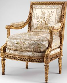 Armchair. Part of a suite of furniture made specifically for Antonia, Duchess of Roxton's writing room at TREAT, now occupied by the present and 6th Duchess, Deborah.  Armchair designed by Georges Jacob  (1739–1814, master 1765) and upholstered in white silk satin embroidered with colored silks. AUTUMN DUCHESS