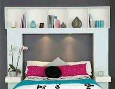 Bed surround furniture unit for storage